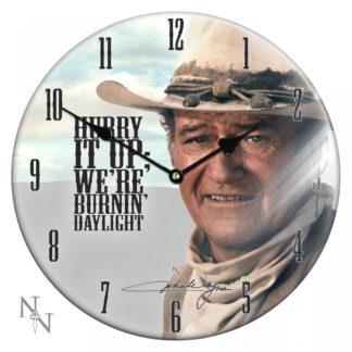 Glass Clock John Wayne 34cm