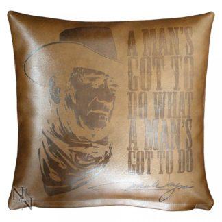 John Wayne Embossed Leather Cushion 36cm