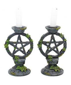 Wiccan Pentagram Candlesticks 15cm (Set of 2)