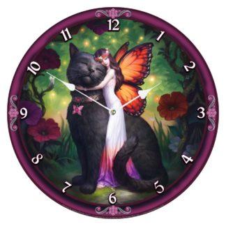 Cat and Fairy Clock (JR) 34cm