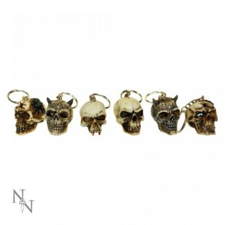 Skull Keyrings (3cm) (Pack of 6)