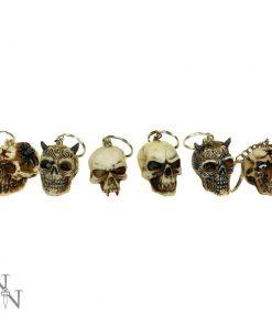 Skull Keyrings (3cm) (Pack of 6)