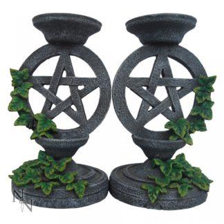 Aged Pentagram Candlesticks 13.4cm