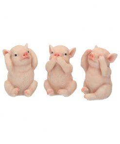 Three Wise Pigs 9.5cm
